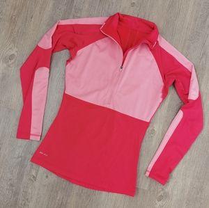 Nike Dri-Fit half zip red & pink pullover shirt